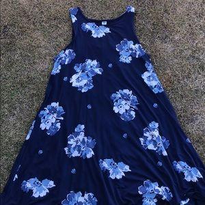 Navy Blur Floral Swing Dress